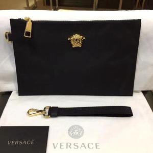 Versace 范思哲黑色尼龙布金色人头手拿包