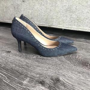 Ralph Lauren拉尔夫·劳伦牛仔布铆钉低跟鞋