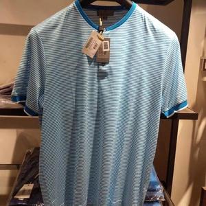 Canali 康纳利蓝色条纹短袖