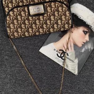 Dior 迪奥咖色系帆布包面单肩包
