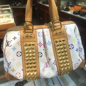 Louis  Vuitton路易威登白三彩柳钉手提包