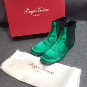 Roger Vivier 罗杰·维维亚绿色丝绒方头平底靴子