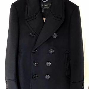 Burberry 博柏利男士走秀款黑色双排扣羊毛羊绒混纺大衣外套