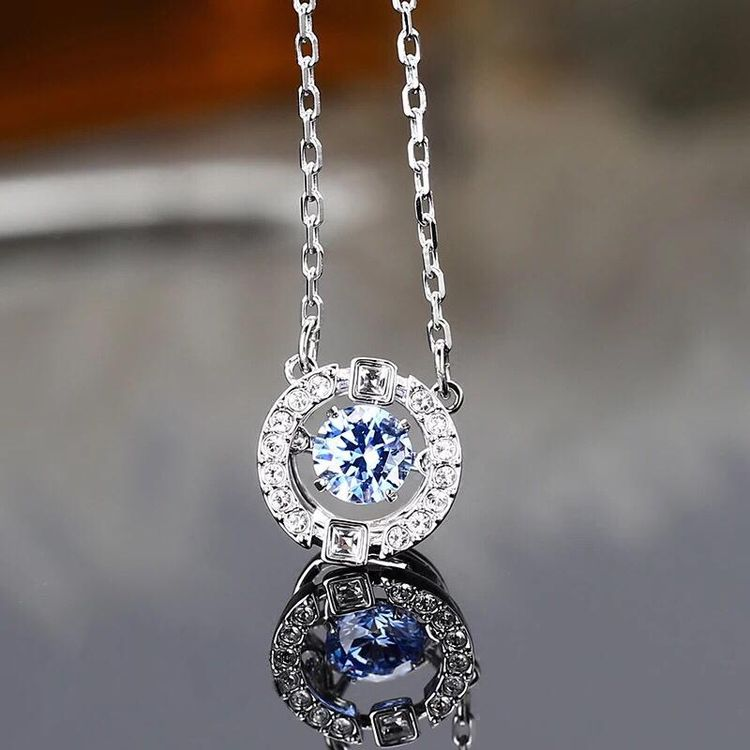 SWAROVSKI 施华洛世奇全新正品蓝色跳动的心锁骨链5279425