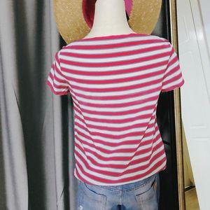 Miu Miu 缪缪红白条纹真丝短袖