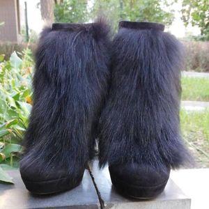 GUCCI 古驰毛毛高跟短靴