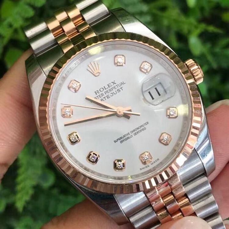 Rolex 劳力士日志型系列116231白盘镶钻机械表