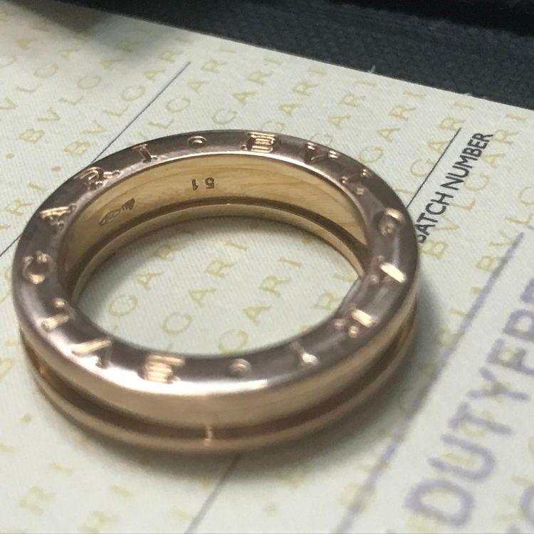BVLGARI 宝格丽玫瑰金51号单环戒指