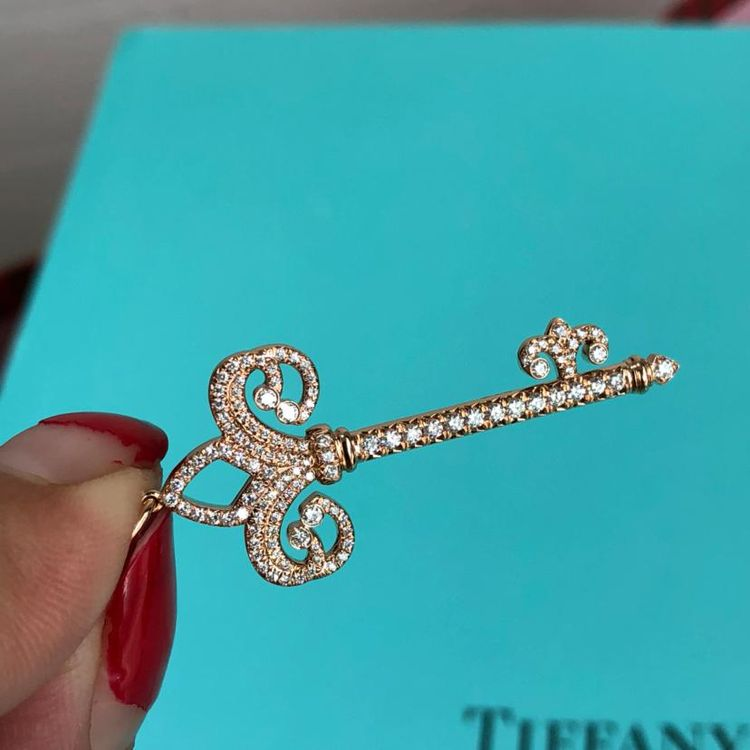 Tiffany & Co. 蒂芙尼鸢尾花玫瑰金满钻项链