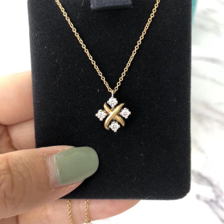 Tiffany & Co. 蒂芙尼18k金拼pt950铂金镶钻珠宝礼物盒子项链