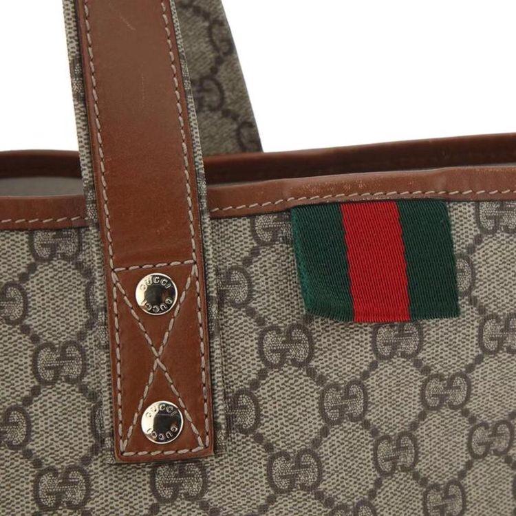 GUCCI 古驰红绿标拼皮购物袋