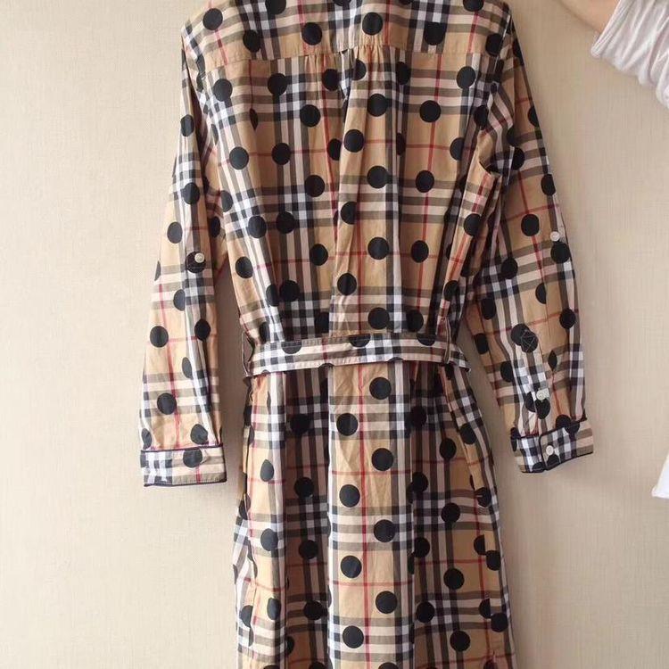 Burberry 博柏利波点格纹纯棉宽松式连衣裙