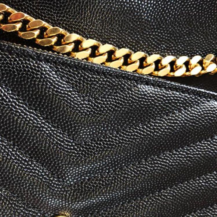 Yves Saint Laurent 伊夫·圣罗兰条纹牛皮金属logo链条信封包
