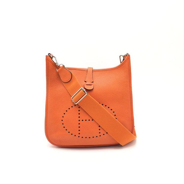 Hermès 爱马仕经典evelyne系列橙色全皮单肩包