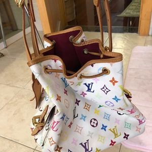 Louis Vuitton 路易·威登村上隆合作款白彩33彩水桶单肩包