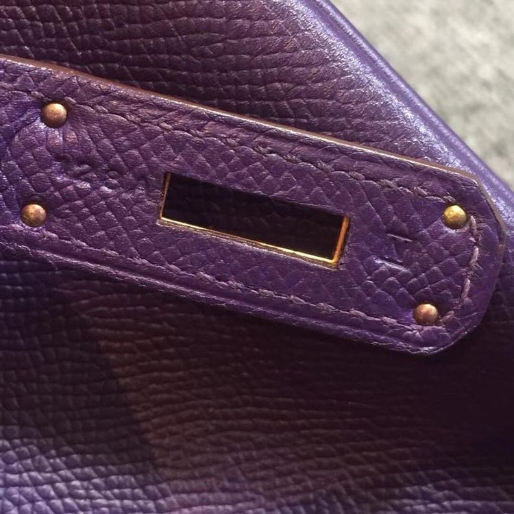 Hermès 爱马仕P9海葵紫金扣epsom皮birkin30手提包