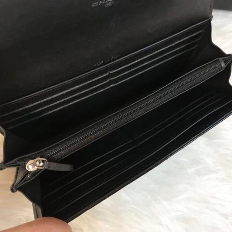 CHANEL 香奈儿黑色漆皮长款钱包