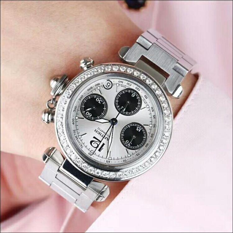 Cartier 卡地亚经典帕莎后镶钻计时机械表