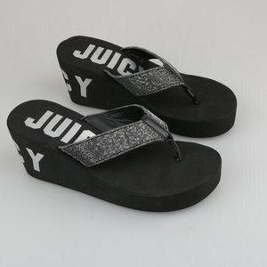 Juicy Couture橘滋女士黑银坡跟凉鞋