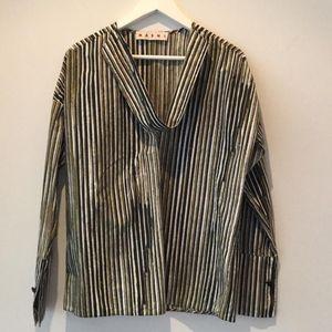 Marni 玛尼棉质抽象条纹小低胸宽松休闲长袖