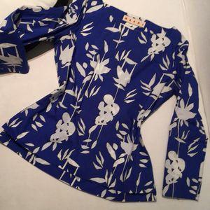 Marni 玛尼纯棉蓝底素白抽象花朵图案长袖