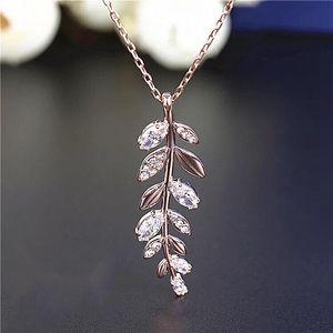 SWAROVSKI 施华洛世奇玫瑰金色幸福之叶水晶项链