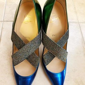 Christian Louboutin 克里斯提·鲁布托拼色红底高跟鞋