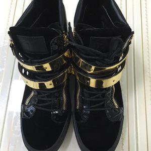 Giuseppe Zanotti 朱塞佩·萨诺第金丝绒高帮经典鞋子