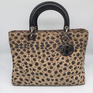 Dior 迪奥戴妃包豹纹手提包