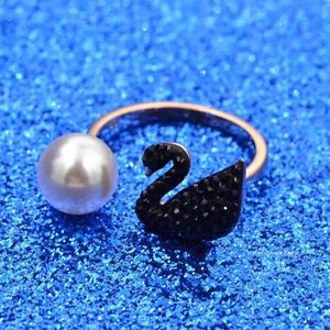 SWAROVSKI 施华洛世奇天鹅珍珠开口戒指