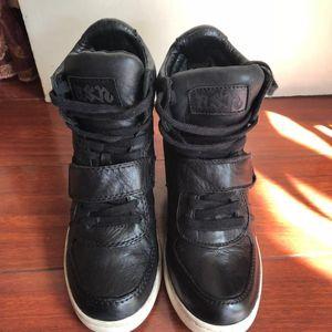 ASH Shoes 艾熙黑色小牛皮增高鞋