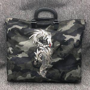 PRADA 普拉达炎龙刺绣迷彩尼龙布手提包