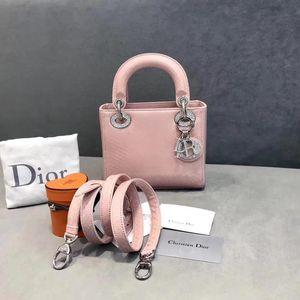Dior  迪奥三格粉色蛇皮钻扣手提包