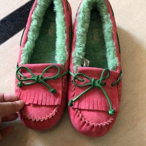 UGG 粉绿双拼毛毛平跟鞋