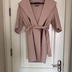 MaxMara 粉色经典浴袍式连帽羊毛大衣