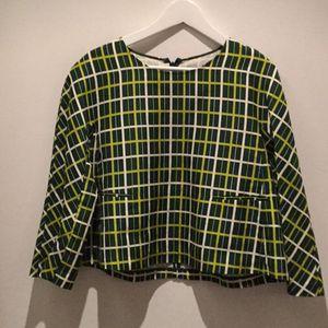 Marni 玛尼深浅草绿格子棉加丝面料长袖