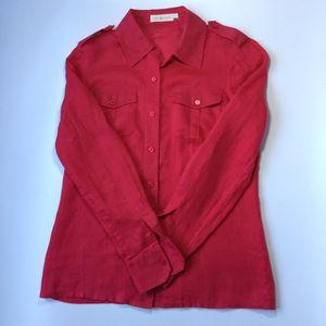 Tory Burch 托里·伯奇西瓜红女士亚麻布长袖衬衫