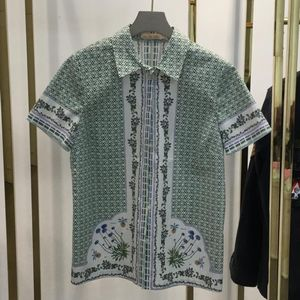 Tory burch 托里·伯奇绿色几何花草图案衬衫