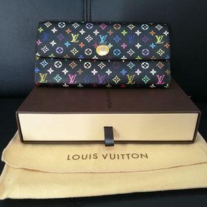 Louis Vuitton 路易·威登黑三彩绝版长款豆豆金属扣钱包