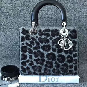 Dior 迪奥 Dior迪奥Lady五格戴妃包 限量刺绣豹纹手提包
