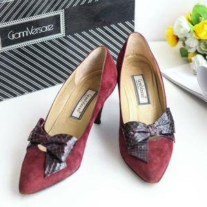 Versace 范思哲XZ09054红棕麂皮拼蛇皮蝴蝶结高跟单鞋