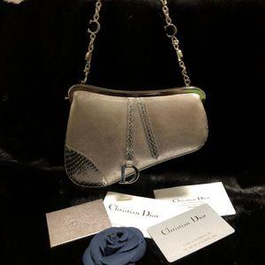 Dior 迪奥珠光麂皮拼蟒蛇皮手包