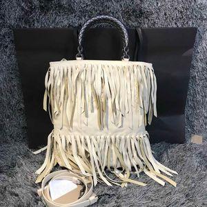Bottega Veneta 葆蝶家女士米黄色流苏手提包