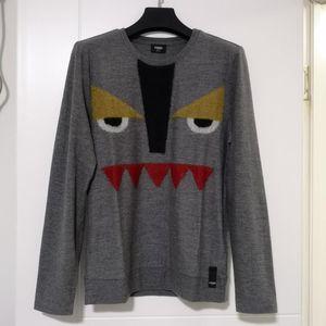 FENDI 芬迪深灰色小怪兽图案羊毛混纺针织衫