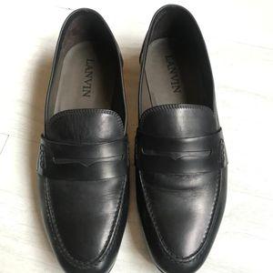 LANVIN 朗雯意大利产男士黑色莫卡辛一脚蹬乐福鞋