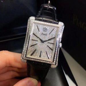 PIAGET 伯爵黑带系列白金后镶钻石自动机械表