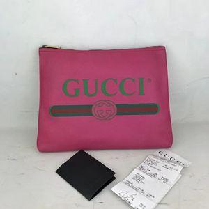 GUCCI 古驰全皮标识印花拉链手包