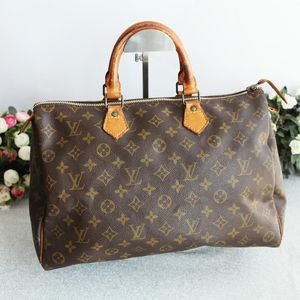 Louis Vuitton 路易.威登老花配皮中古手提包