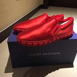 stuart weitzman 斯图尔特·韦茨曼限量红色缎面玫瑰花休闲鞋