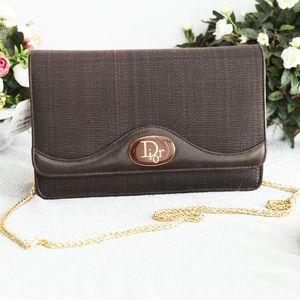 Dior 迪奥深棕马毛编织面配皮信封包
